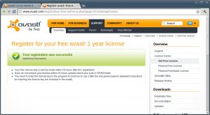 Avast Linux Home Edition - Free license registration