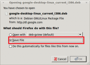 Save the Google Desktop for Linux *.deb package file