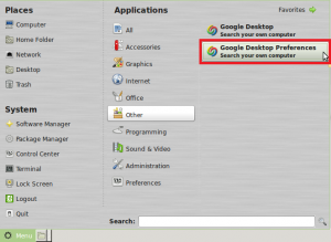 Google Desktop Preferences Menu entry in Linux Mint / Ubuntu
