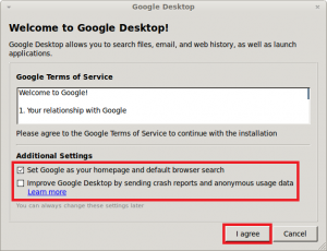 Google Desktop for Linux Terms of Service, Additional Settings
