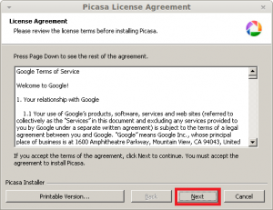 Google Picasa License Agreement