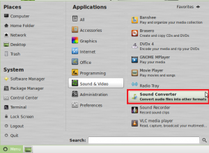 start sound converter in Linux Mint / Ubuntu