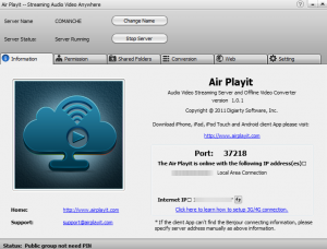 Air Playit server interface