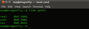 Time taken for gedit to execute from terminal