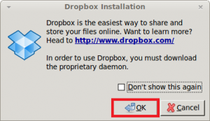 Click 'OK' to continue installing dropbox in Linux Mint / Ubuntu