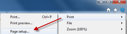 Internet Explorer 9 print options