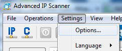 Settings in Advanced IP Scanner