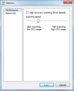 Performance settings in Advanced IP Scanner