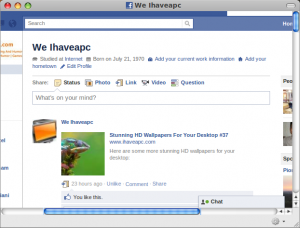 Using Facebook with Prism-Facebook Web App
