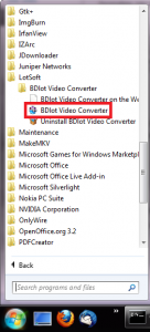 Starting the BDlot Video Converter