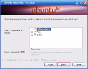 Ubuntu Skin Pack 4.0 for Windows XP SP3 setup