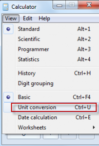 Selecting Unit conversion in Windows calculator