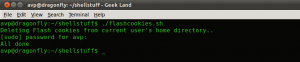 Deleting Flash cookies using shell script in Linux Mint, Ubuntu