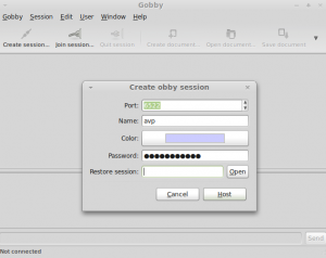 Creating a new session in Gobby