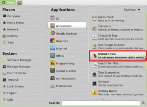 starting gshutdown in Linux Mint / Ubuntu