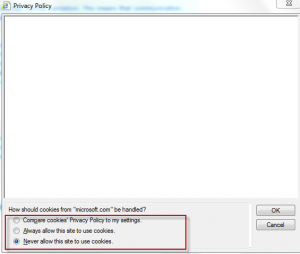 Webpage privacy policy settings page in Internet Explorer 9