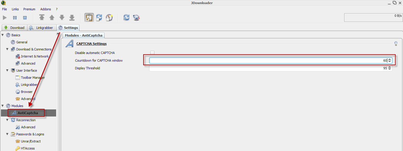 How To Increase Jdownloader Captcha Countdown Limit When