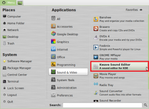 Using Kwave Sound Editor In Linux Mint / Ubuntu