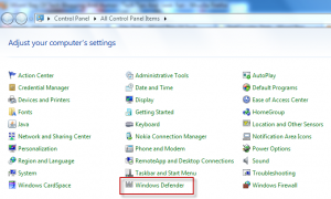 Accessing Windows Defender