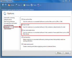 Advanced options in Windows Defender