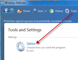 Options in Windows Defender