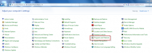 Programs and features in Windows Control Panel