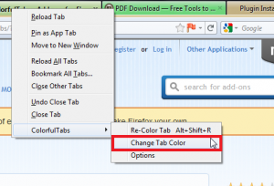 ColorfulTabs Firefox add-on usage