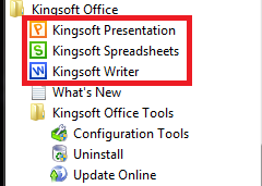 KingSoft Office Suite 2012 In The Windows 7 Start Menu