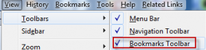 Enable bookmarks toolbar in Firefox