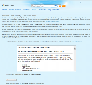 Microsoft Internet Connectivity Evaluation tool