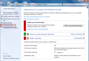 Selecting Advanced settings in Windows Firewall