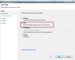 New inbound rule wizard in Windows Firewall