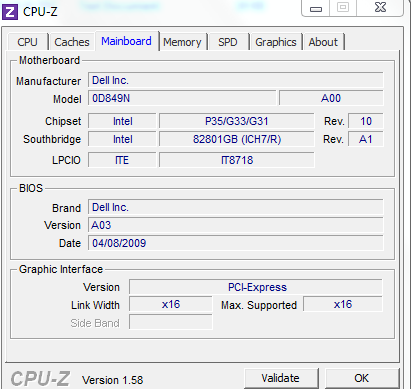 Mainboard details using CPU-Z