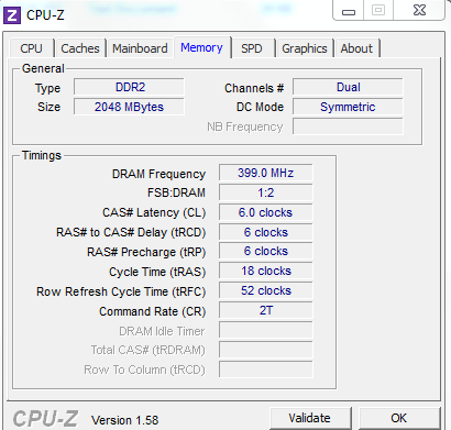 RAM details using CPU-Z
