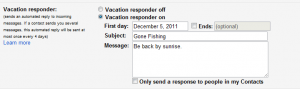 Configuring Gmail automatic vacation responder