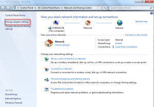 Network and sharing settings in Win 7