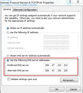 DNS settings in Windows