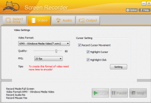 SnowFox Screen Recorder video settings