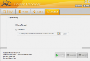 Output settings in SnowFox Screen Recorder
