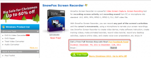 Email for full version of screen recorder