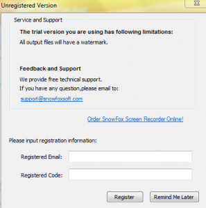 Registration window for SnowFox Screen Recorder