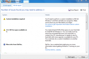 64-bit report in Windows 7 upgrade advisor