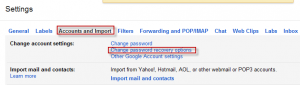 Gmail account password recovery options