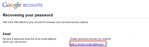 Adding or removing email addresses for Gmail password reset