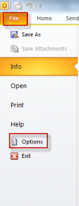 Outlook 2010 options