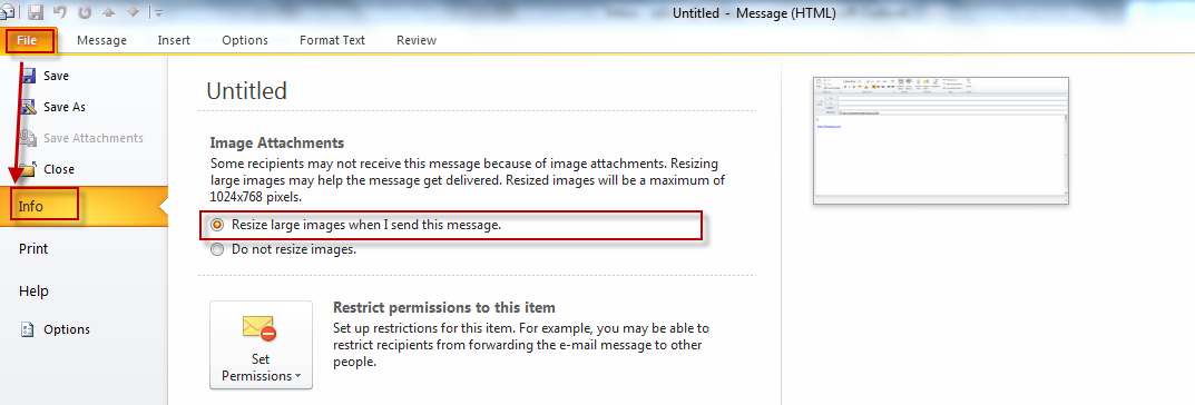 Resizing images sent as attachment when using Outlook 2010