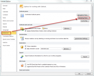 Advanced options in Outlook 2010