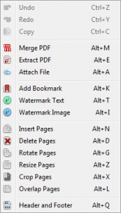 Editing options in PDF Converter Elite