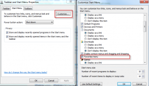 Customizing start menu in Windows 7 to enable Favorites menu