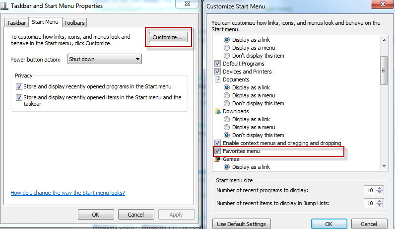 How To Enable Favorites Menu In Windows 7/Vista - I Have A
